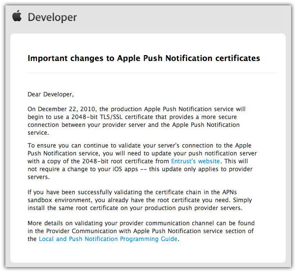 Apple apns root certificate