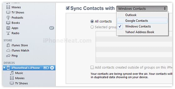 backup iphone contacts to gmail 1