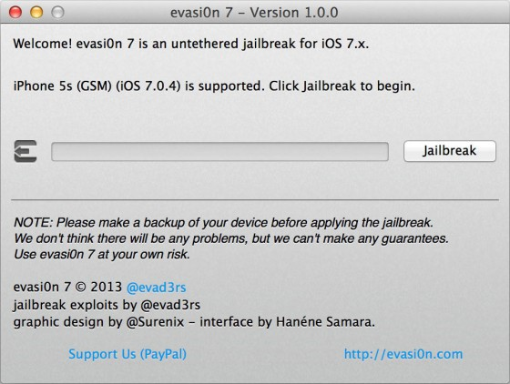 jailbreak iphone 5s evasi0n iOS-7.0.4