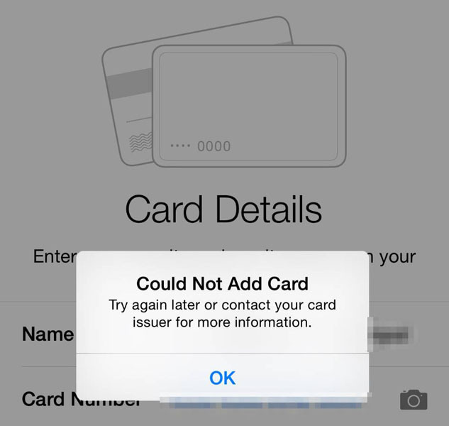 could not add card apple pay