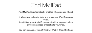 setup iPad mini - find my ipad