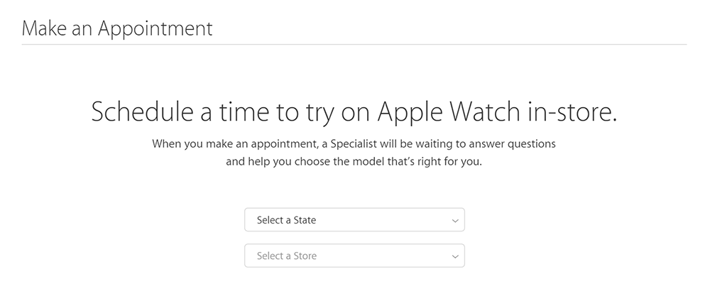 apple watch try-on appointment web