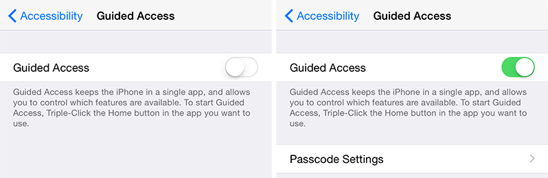 Guided access iPhone