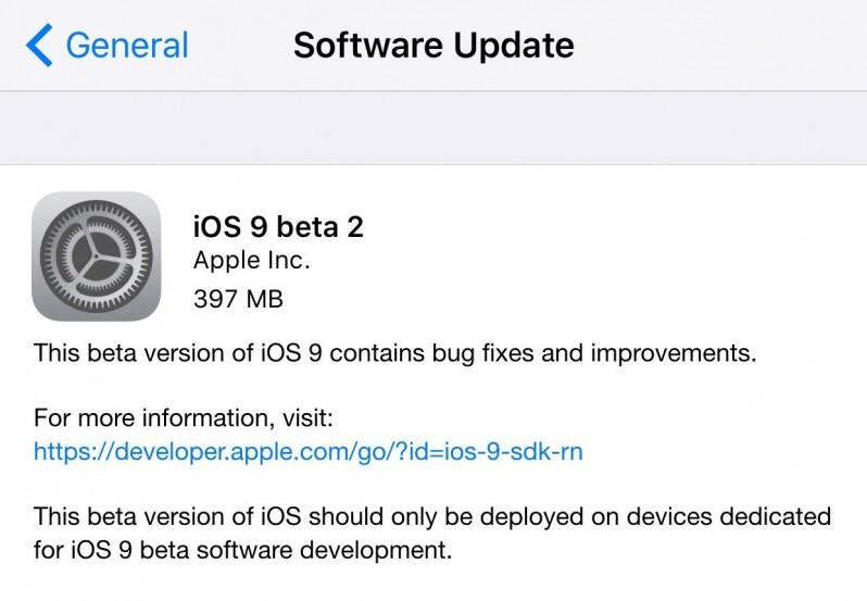 ios 9 beta2 OTA