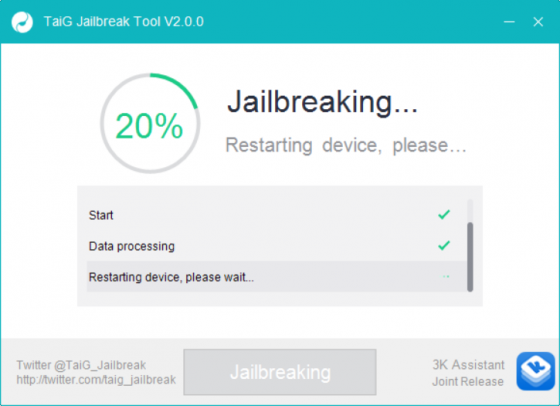 taig jailbreak ios 83 stuck on 20