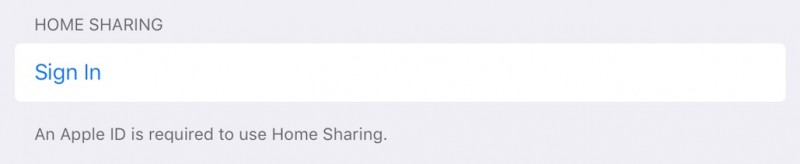 Home Sharing iOS 9