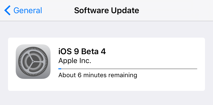 iOS 9 beta 4 update