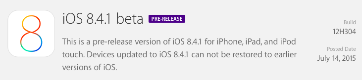ios 8.4.1 beta update