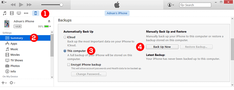 backup iphone itunes