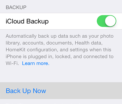 backup iphone to icoud