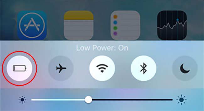 low power mode control center