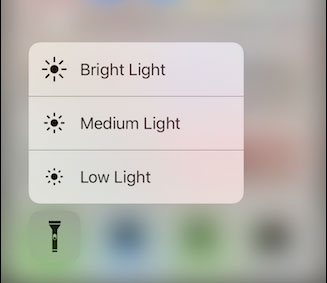 control brightness of flashlight on iphone