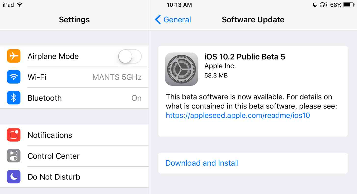 iOS 10.2 beta 5 update