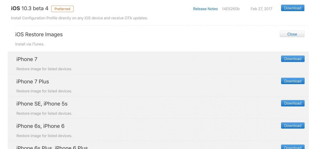 iOS 10.3 beta 4 banner