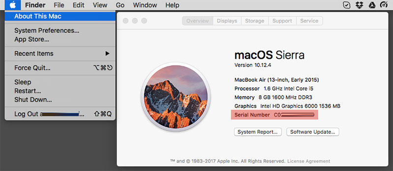 check apple macbook air serial number