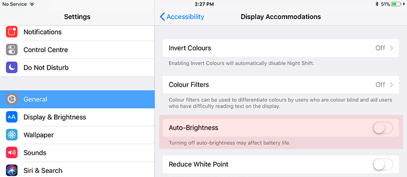 turn off auto brightness on ipad in ios 11