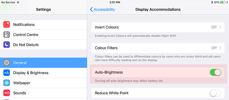 turn on auto brightness in ios 11