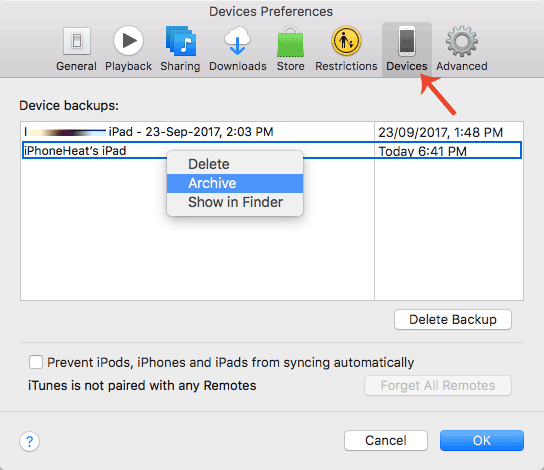 archive ipad backup