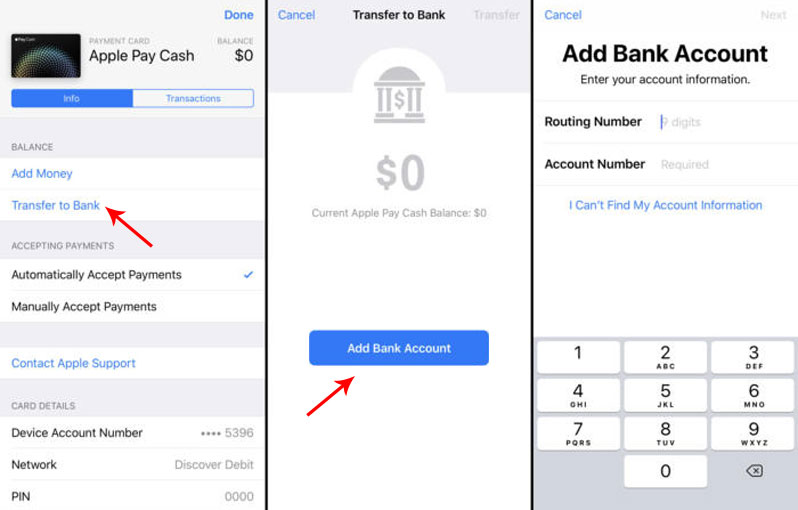 add bank account apple pay cash