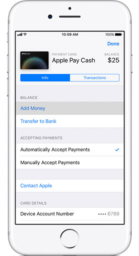 add money to apple pay cash card