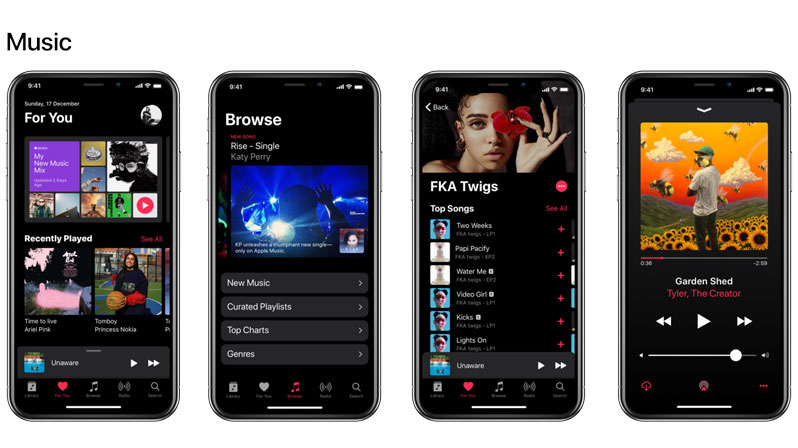 apple music dark theme concept