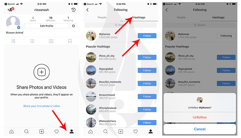 how to unfollow instagram hashtag iphone ipad