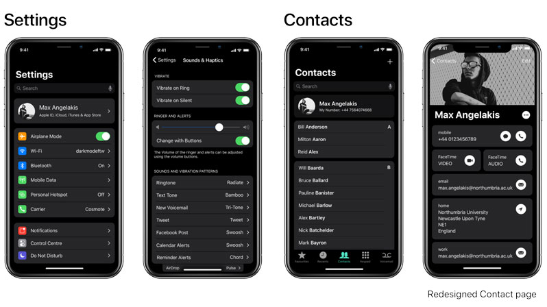 ios dark theme concept