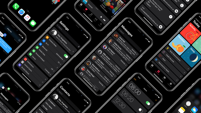 iphone x dark theme concept