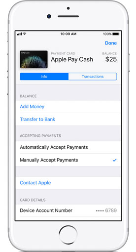 manually accept apple pay cash payment