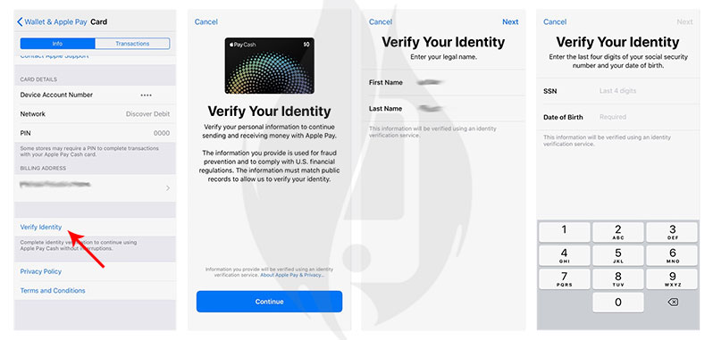 verify apple pay cash identity