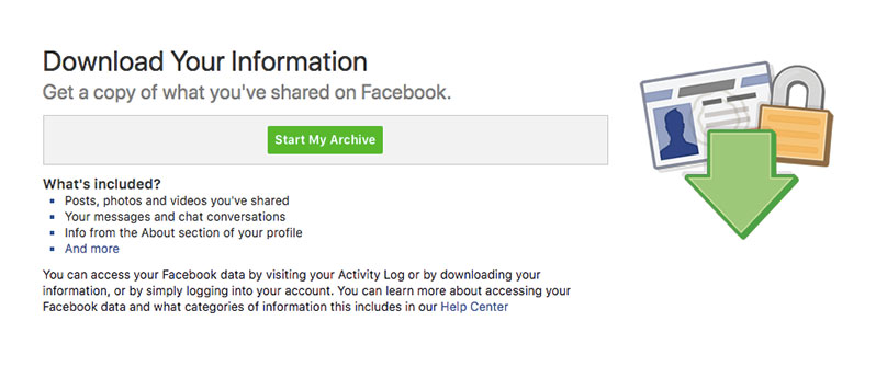 start my archive facebook data