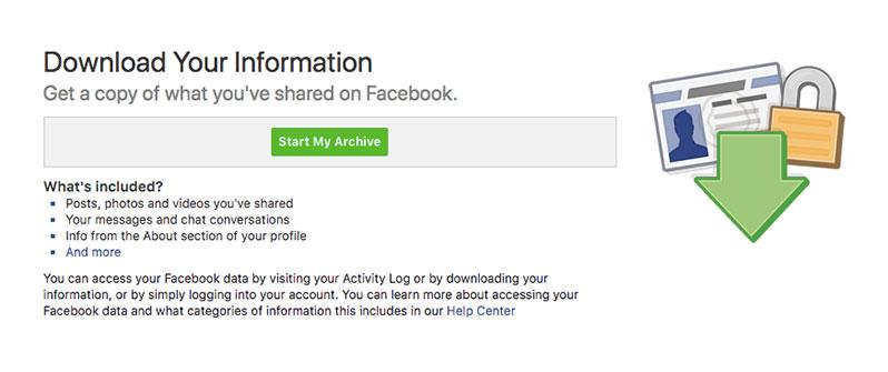 start my archive facebook data
