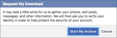 start my archive facebook