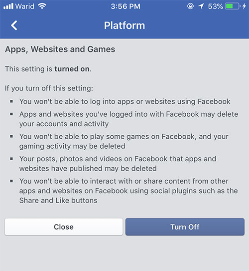disable third party facebook apps platform