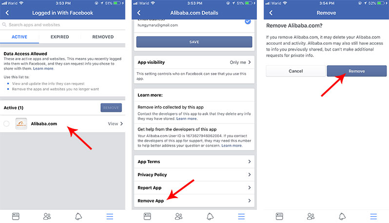 revoke permission of third party app on Facebook