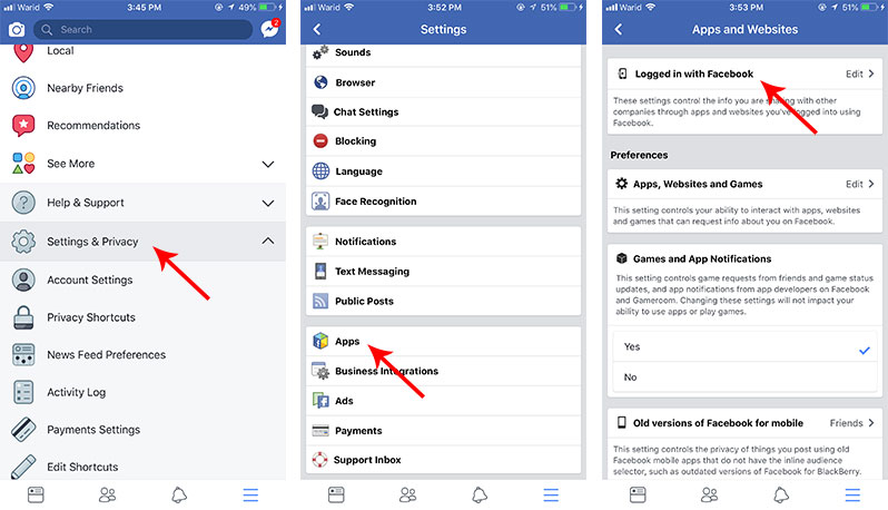 revoke third party app permission on Facebook