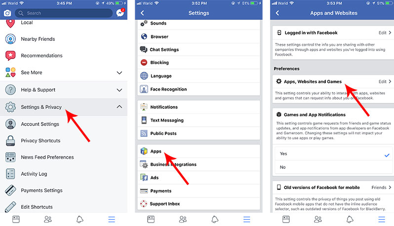 turn off third party facebook apps platform