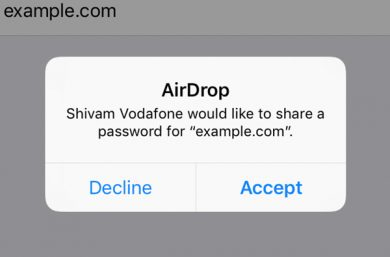 share passwords using airdrop