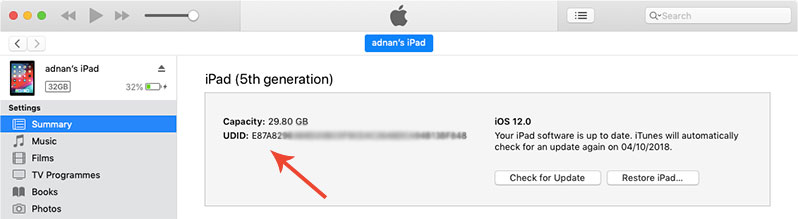 how to find udid of iphone using itunes