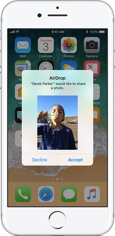 receive airdrop share files on iphone