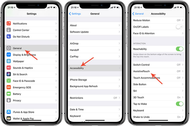 restart iphone xs from assistive touch