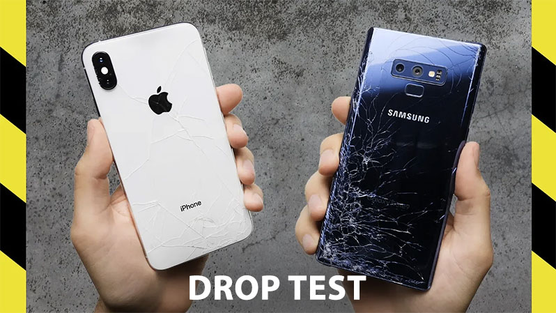 drop test iphone xs vs galaxy note 9