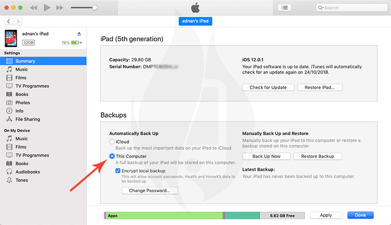 how to backup iphone ipad to itunes