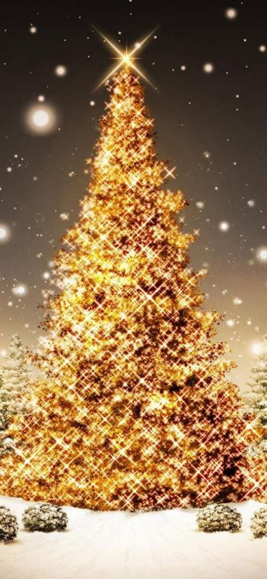 Beautiful golden Tree iPhone XR christmas background
