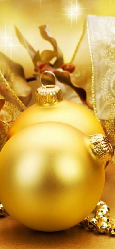 golden Christmas balls iPhone xr wallpapers
