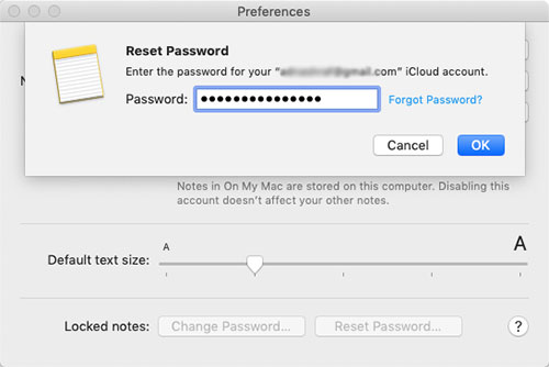 how to reset notes password on mac