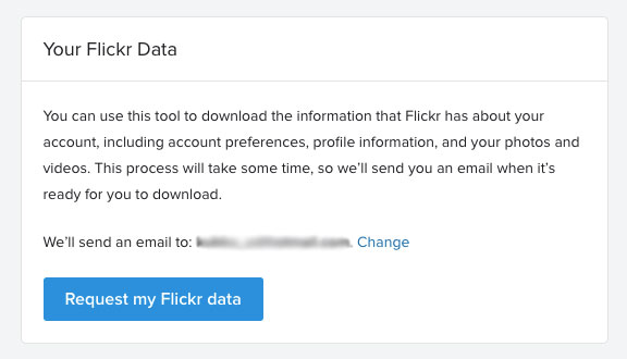 request my flickr data to download flickr photos
