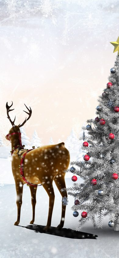 snow deer Christmas wallpaper 828x1792