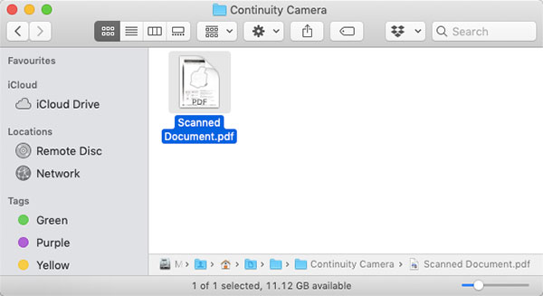 use camera continuity to scan documents