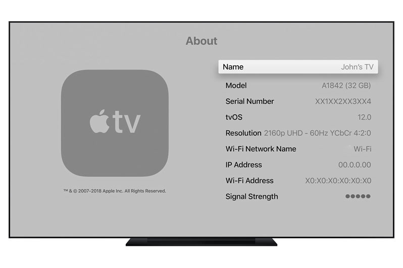find apple tv serial number in settings